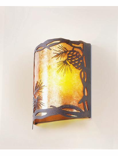 TIMBER RIDGE PINECONE HALF ROUND WALL SCONCE