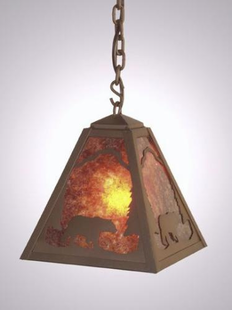 TIMBER RIDGE RUSTIC STEEL BEAR HANGING PENDANT LIGHT