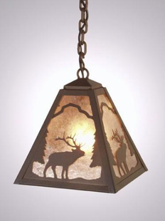 TIMBER RIDGE RUSTIC STEEL ELK HANGING PENDANT LIGHT