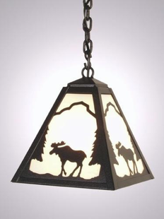 TIMBER RIDGE RUSTIC STEEL MOOSE HANGING PENDANT LIGHT