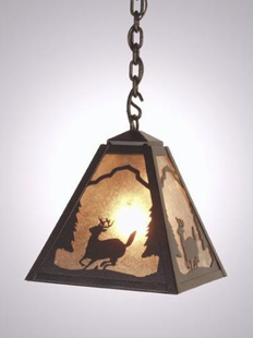TIMBER RIDGE RUSTIC STEELDEER HANGING PENDANT LIGHT