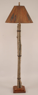 TWIG AND LEATHER FLOOR LAMP