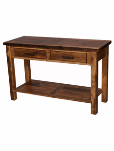 WEATHERED TIMBER 2 DRAWER SOFA TABLE