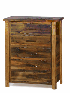 WEATHERED TIMBER 5 DRAWER CHEST