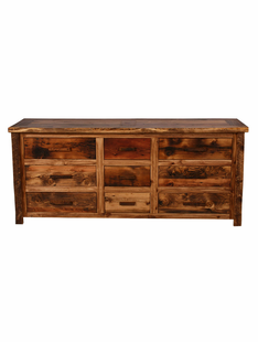 WEATHERED TIMBER 9 DRAWER DRESSER