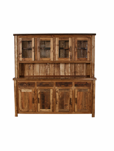 WEATHERED TIMBER LARGE BUFFET & HUTCH