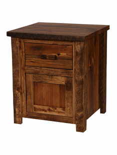 WEATHERED TIMBER NIGHTSTAND WITH 1 DRAWER AND 1 DOOR