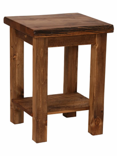 WEATHERED TIMBER SIDE TABLE W/FLAT SHELF