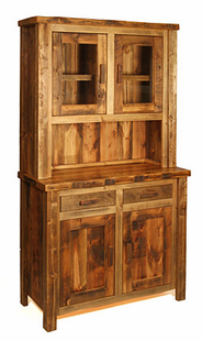WEATHERED TIMBER SMALL BUFFET & HUTCH