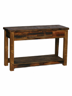 WEATHERED TIMBER SOFA TABLE (1 DRAWER & SHELF)