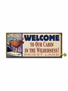 WELCOME TO OUR CABIN PERSONALIZED ELK SIGN