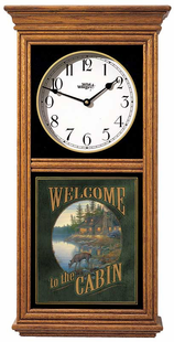 WELCOME TO THE CABIN REGULATOR CLOCK OAK OR BLACK