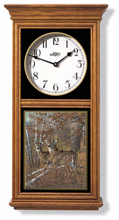 Whitetail Pair Regulator Clock Oak OR Black