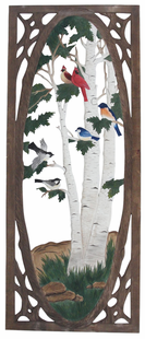 WILD BIRDS CARVED SCREEN DOOR