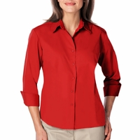 Personalized Blue Generation Ladies 3/4 Sleeve Easy Care Poplin Shirt with Matching Buttons