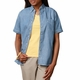 Personalized Blue Generation Ladies' Short Sleeve Premium Denim Shirt