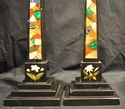 Antique Ashford marble obelisks with geometric design