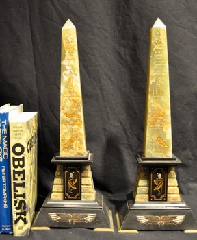 Antique French Neo-Egyptian Marble Obelisks