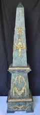 "Pair of Green Marble Obelisks with bronze decoration (4ft,8"")"