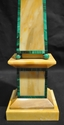 Antique Giallo antico marble with malachite trim obelisk