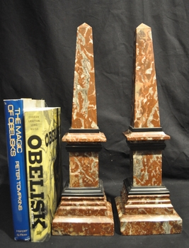 19th C. French rouge marble obelisks