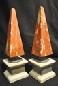 Italian rouge, cream and grey marble obelisks
