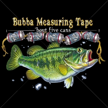 Wholesale Fishing T-Shirts, Custom T-Shirts, Men's Discount T-Shirts - 14444-13x9-bubba-measuring-tape-bass
