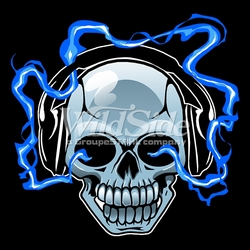 Wholesale Skulls, Bulk T Shirts, Wholesale T Shirts, Suppliers, Apparel - 16111-9x9-skull-head-phones