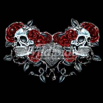 Skulls, Bulk T Shirts, Wholesale T Shirts, Suppliers, Apparel - 16172-12x8-skulls-roses-and-key-heart