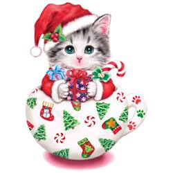 Christmas T Shirts Clothing, Wholesale Bulk - Kitten Christmas Shirts for Men, Women & Kids - 18374GL4-1