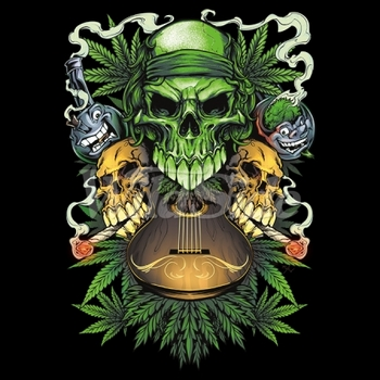 Weed Clothing and Apparel, Skull, T Shirts - Candy Skull - 19554