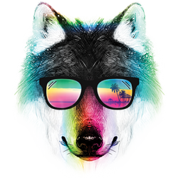 Sunglasses Wolf  Design T-Shirts & Shirt Designs, Custom T-Shirts, Wholesale Bulk T Shirts Cheap - 19946HL2