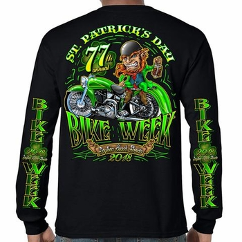 Wholesale Clothing, Biker T Shirts Suppliers Women's Bulk Cheap - 2018 Bike Week Daytona Beach St. Patty's Long Sleeve Shirt