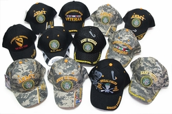 Bulk Military Wholesale Hats - 24 Pc Military Baseball Cap Assortment - MSC Distributors