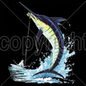 Wholesale Fishing T-Shirts, Custom T-Shirts, Men's Discount T-Shirts - 5099-13x16-blue-marlin-oversize