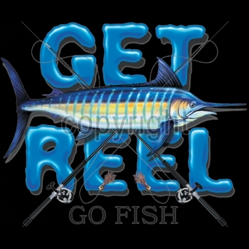 Wholesale Fishing T-Shirts, Custom T-Shirts, Men's Discount T-Shirts - 9485-12x13-get-reel-go-fish-marlin-rods-pocket-design