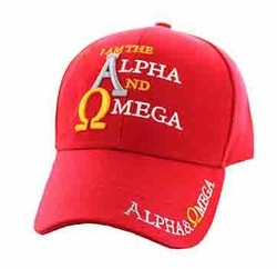 Christian Caps and Hats - Bulk Wholesale Christian Hats - Alpha and Omega Jesus Velcro Cap (Solid Red) - VM023