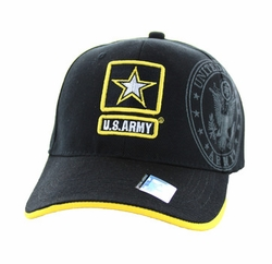 Wholesale Military Embroidered Logo Baseball Caps Hats - Army #1 Velcro Cap (Black Yellow) - VM010