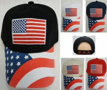 Wholesale Hats Caps American Flag Patriotic Baseball Caps Hats Wholesale Bulk Suppliers - HT112. Americana Ball Cap [Embroidered Flag with Screen Print Bill]