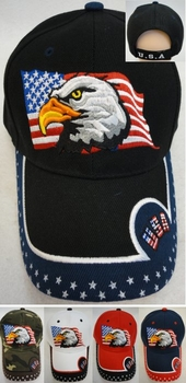 Wholesale T Shirts, Wholesale Hats, Patriotic Baseball Caps Hats Wholesale Bulk Suppliers - HT558. Eagle Flag Hat [USA Stars on Bill]