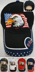 Patriotic Baseball Caps Hats Wholesale Bulk Suppliers - HT558. Eagle Flag Hat [USA Stars on Bill]