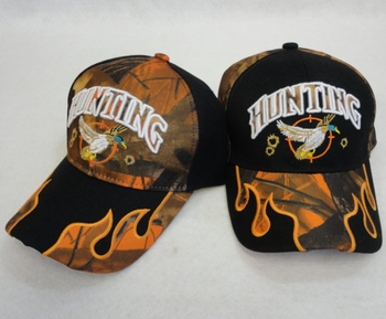 Wholesale Apparel Bulk Cheap Discount Baseball Caps T Shirts Clothing - Wholesale Bulk - HT140. HUNTING Hat [Duck] Camo Flames on Bill
