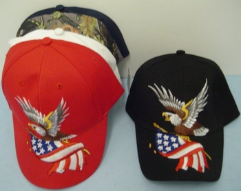 Wholesale Apparel Bulk Cheap Discount Baseball Caps T Shirts Clothing - Wholesale Bulk - HT4. Eagle with Flag Hat