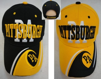 Wholesale Apparel Bulk Cheap Discount Baseball Caps T Shirts Clothing - Wholesale Bulk - HT556. PITTSBURGH Hat [PA Wave on Bill]