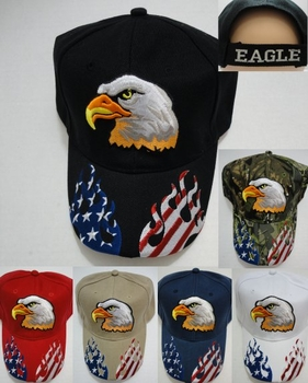 Wholesale Apparel Bulk Cheap Discount Baseball Caps T Shirts Clothing - Wholesale Bulk - HT758. Eagle Hat with Flag Flames