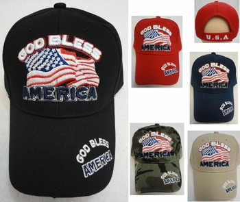 Wholesale Apparel Bulk Cheap Discount Baseball Caps T Shirts Clothing - Wholesale Bulk - HT99. GOD BLESS AMERICA with Flag Hat