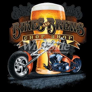 Wholesale Clothing - Biker T Shirts Cheap Online Sale At Wholesale Prices - 17015-12x14-bikes-and-beers-chop-shop