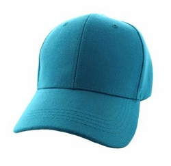 Wholesale Men's Women's Adult Blank Hats and Caps in Bulk For Embroidery - Baseball Velcro Cap (Solid Aqua) - VP019