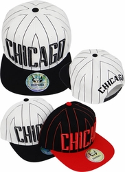 Hats Caps Wholesale Clothing, Products Resale Online - Blank hats, Beanies, Trucker Hats, Snapback Hats and more, Wholesale Prices - FS-391 Chicago Stripe Snapback