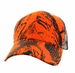 Wholesale Men's Women's Adult Blank Hats and Caps in Bulk For Embroidery - Mesh Back Trucker Velcro Cap (Solid Orange Hunting Camo) - VP022